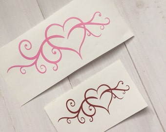 DIY Heart Vinyl Decal, Pick Your Size and Color, Open Heart, Swirls, Car Windows, Laptop Decal, Tablet Decal, Cell Phone Decal