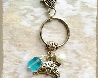 Dolphin Keychain, Personalized Bag Charm, Zipper Pull, Purse Charm, Beach Glass, Pearl, Tote Bag Charm, Key Ring, Embossed Clasp