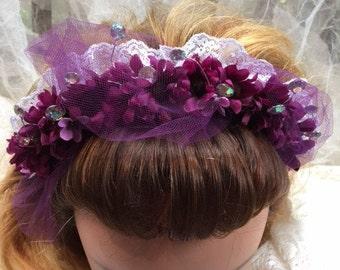 Purple Passion Bridal Headband With Lace