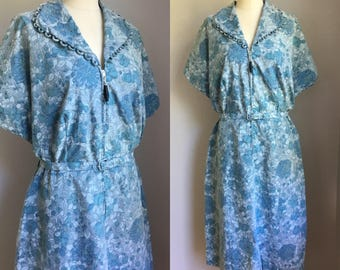Vintage 1940s Blue Floral Joyce Lane Belted Day Dress Size XL