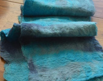 Amazing Bright Blue Alpaca Handpainted Wet Felted Scarf OOAK