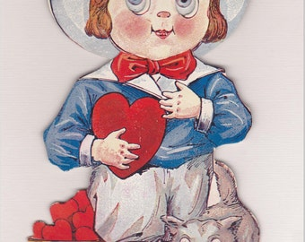 MECHANICAL VALENTINE CARD, R. F. Outcault, Stand-Up with Moveable Eyes, early 20th Century, Antique Greeting Card