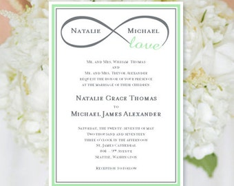 """Wedding Invitation """"Infinity Love"""" Mint Green & Gray Printable Template Edit Microsoft Word Instant Download ALL COLORS  DIY You Print"""