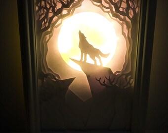 Howling Wolf Light-box Art (A4)