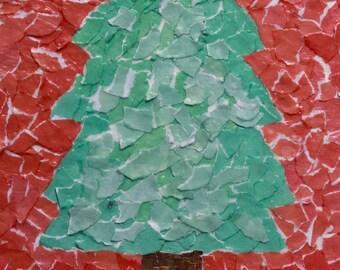 Joy Christmas Collage Art Notecards -- Single or Set of 5 -- Blank Inside -- Envelopes Included