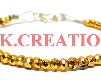 30% Off, Natural Golden Pyrite Gemstone Faceted Rondelle Beads Bracelet, Dainty Bracelet, 925 Silver Filled Golden Pyrite Beads Bracelet