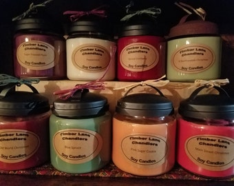 Christmas Collection, Seasonal, 16 oz. Soy Candle, Apothecary Jar, Pine, Peppermint, Warm, Festive, Cranberry, Cookie