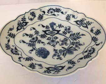 """Vintage Lovely Blue Danube Onion  Oval Serving Bowl 11.5""""  Mint Condition-Banner Mark"""