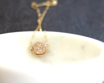 Pale Rose gold Druzy Necklace Champagne Druzy choker bridesmaid necklace gift for her neutral Under 60 Vitrine Designs