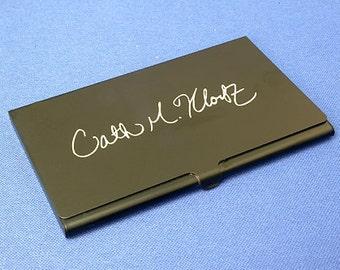 Laser engraved aluminum business card holder