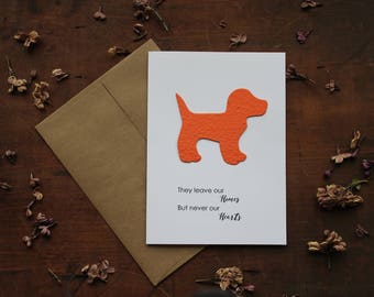 Pet Sympathy- They leave our homes but never our Hearts- Choose from 5 shapes/16 seed paper colors