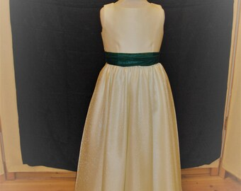 Bridesmaid dress, flowergirl dress in ivory with bottle green trim