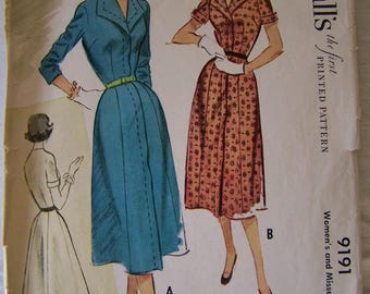 McCall's Vintage Sewing Pattern 9191 Womens Dress from 1952 Size 16 Bust 34