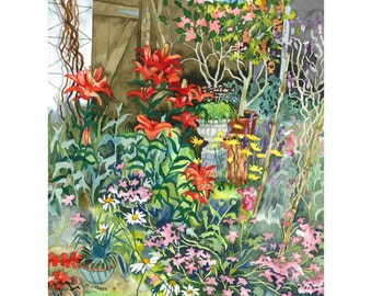Botanical Garden Flowers Red Lillies Watercolour  Limited Edition Giclee Print