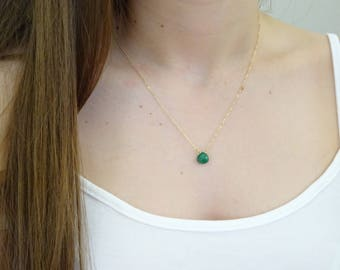 Emerald Necklace, May Birthstone jewelry, Gold Natural Emerald Necklace, Real Emerald, Genuine Dainty Emerald pendant, Gift for her