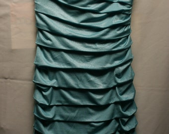 Vintage turquoise strapless dress