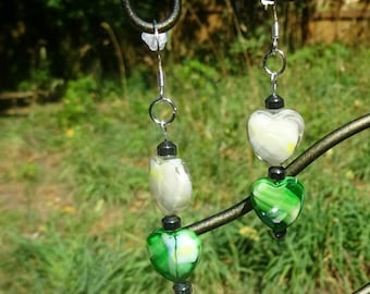 White and Green Faceted Heart Drop Earrings (E88)