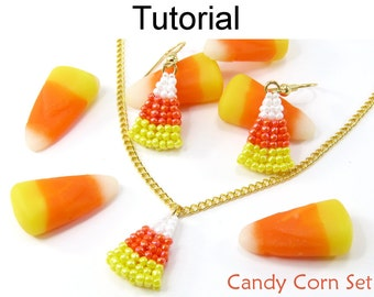 Jewelry Making Pattern Tutorial - Beaded Earrings Necklace Set - Candy Corn Halloween Jewelry - Simple Bead Patterns - Candy Corn Set #15179