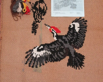 """PILEATED WOODPECKER 4 CT Jute kit to complete 28""""X46"""""""