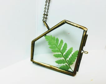All we need is love ,Fern necklace, pressed leaf, nature necklace-Bridal necklace - botanical necklace, gift for her,wedding gift,