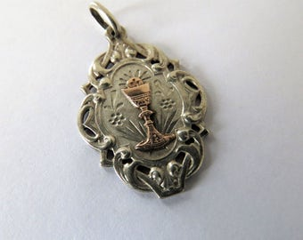 Antique French, Silver & Gold 1st Communion Pendant, SHIPPING INCLUDED