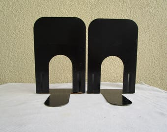 Vintage pair tall black metal bookends, Industrial, office, library, shelf decor, black bookends
