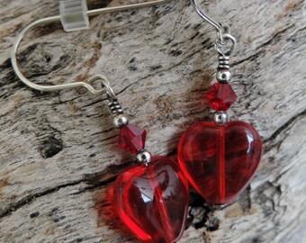 Valentine Red Heart Earrings