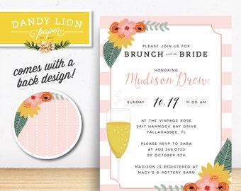 Floral Champagne Brunch with the Bride Digital Invitation - DIY Printable