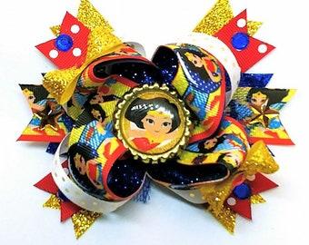 Wonder Woman Super Hero Justice League DC Comics Golden Whip Cosplay Girl Power Hair Bow Headband