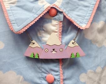 MEOWTAIN - Mountain Necklace / cat necklace, hand painted laser cut wooden nature jewellery. Lilac / purple, cute, unique statement necklace