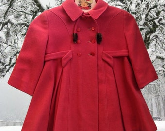 Vintage Child's Swing Coat 1950's Winter Coat Coral Red 50's Vintage Coat Girl's Winter Jacket Pleats and Details