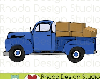Vintage Pickup Moving Day with Boxes Truck Stamp Digital Clip Art Retro