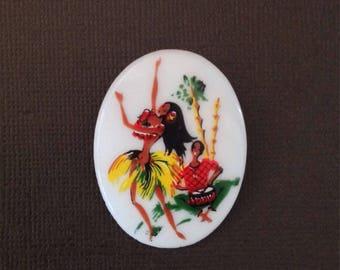 Vintage Milk Glass Brooch- Tropical Pin- Polynesian- Hawaii - Hula Dance