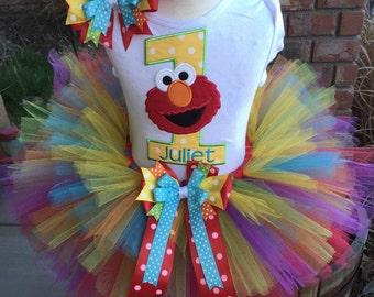 Elmo Birthday Party Tutu Outfit Dress Set Handmade 1st 2nd 3rd Sesame Street Birthday Party