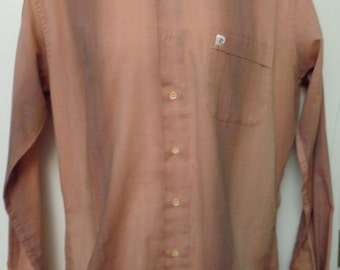 VINTAGE 1970's PIERRE CARDIN Button Down, Long Sleeve Men's Shirt in Shades of Red Print (available)