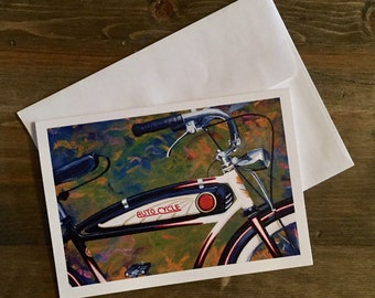 Bicycle note card set - Vintage Schwinn Bicycle - blank note cards or greeting card. Original painting by artist Jon Edmondo.