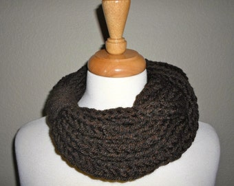 Dark Brown Finger Knit Infinity Scarf