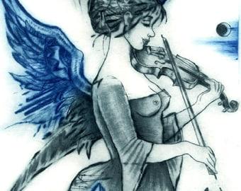 Muse I, intaglio print, original print, dry point, handprinted, original art, fantasy art, angel, music, wings