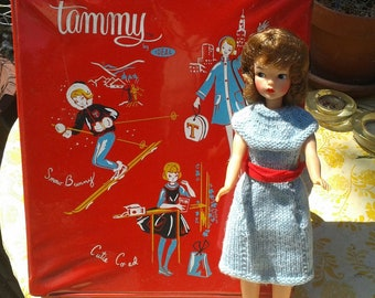 VINTAGE TAMMY DOLL 1960's with Wardrobe and Wardrobe Case