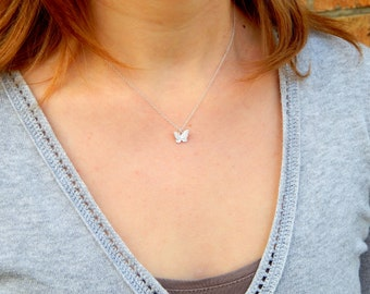 Small silver butterfly charm necklace, tiny butterfly necklace sterling silver chain butterfly charm necklace minimalist simple necklace 162