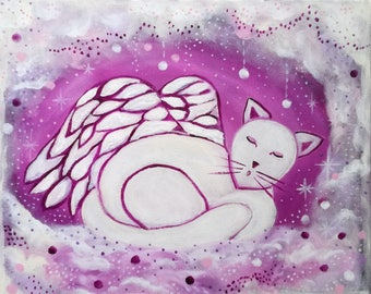 Angel cat - child's room - 30 x 40 canvas