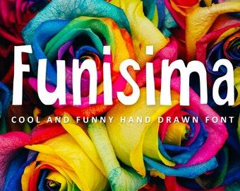 Funisima, Sans Font, Sans Serif font, Kids font, Fun font, Modern calligraphy font, Handwritten font, hand drawn,font download, digital font