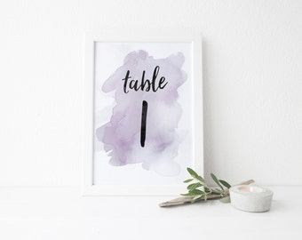 Instant Download Watercolor Splash Table Numbers / Purple Watercolor / Brush Lettering / Digital Print-at-Home File Table Numbers 1-20