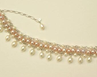 Bridal Pearl Bracelet, Elegant Wedding Bracelet, REAL Pearl Bracelet Sterling Silver