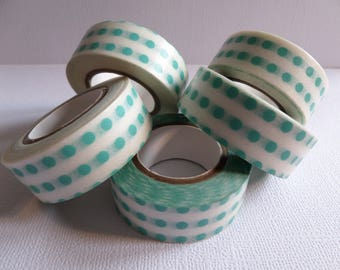 Masking tape white with turquoise dots