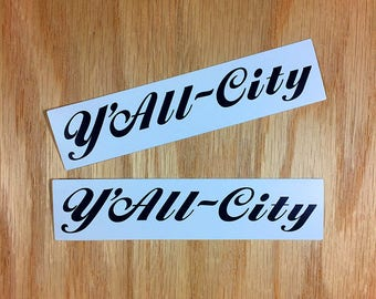 Y'ALL CITY parody cycling 2-piece sticker set