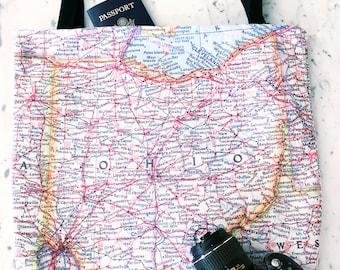 Ohio Map Tote - Ohio Map Bag - Ohio Tote Bag - Ohio Bag - Travel Tote - Gift for Traveler - Ohio Tote - Buckeye State - Columbus - Cleveland