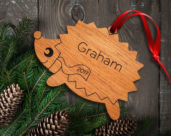 Wooden Hedgehog Ornament: Personalized Name, Boy or Girl, Kids Woodland Animal Ornament