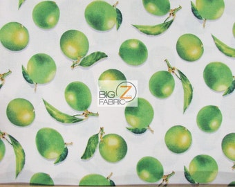 """Fresh Picked Limes White By V.I.P. Premium 100% Cotton Fabric - 45"""" Width Sold By The Yard (FH-1854)"""