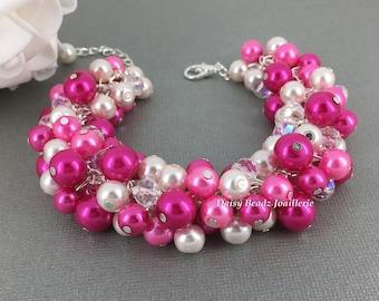 Shades of Fuchsia Bracelet Pearl Bracelet Bridesmaids Gift Bridesmaid Bracelet Hot Pink Bracelet Wedding Bracelet Pearl Jewelry